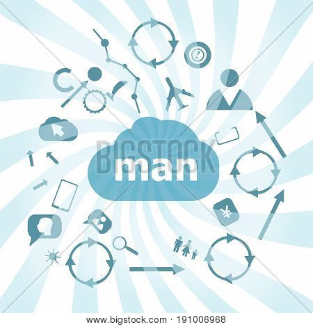 Text Man. Social Concept . Set Of Web Icons For Business, Finance And Communication