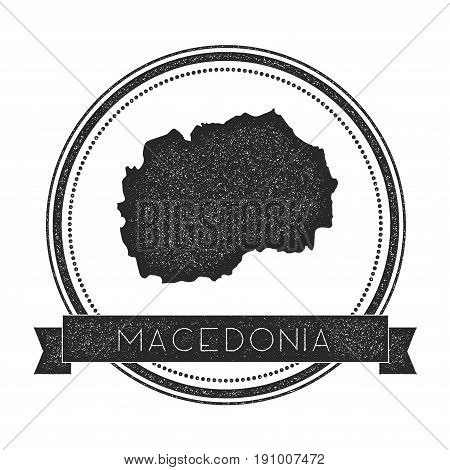 Retro Distressed Macedonia, The Former Yugoslav Republic Of Badge With Map. Hipster Round Rubber Sta