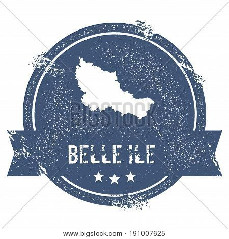Belle Ile Logo Sign. Travel Rubber Stamp With The Name And Map Of Island, Vector Illustration. Can B