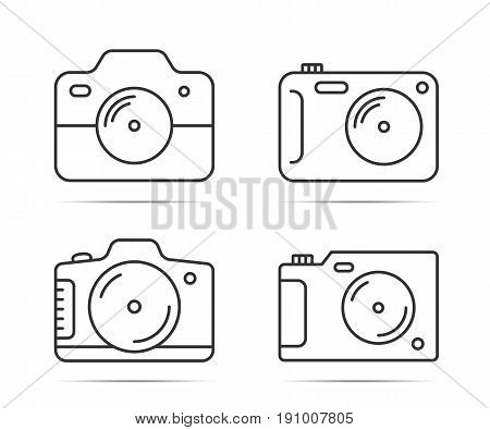 4 Camera line icons on white background vector eps10 illustration