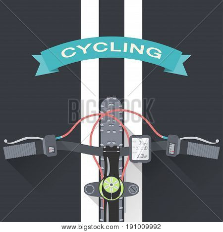 Vector flat poster of cycling in the city top view from the first person.