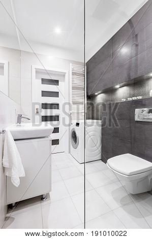 Bathroom With Washer And Basin