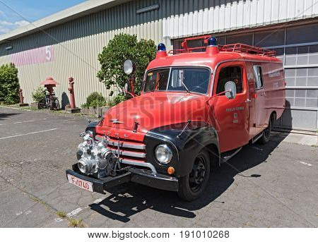 FRANKFURT, GERMANY-MAY 25, 2017: Opel Blitz fire-fighting vehicle on the site of the former Frankfurt-Bonames airfield