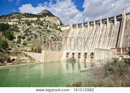 Hydroelectric power station in the Reservoir of Iznajar in the province of Granada Spain
