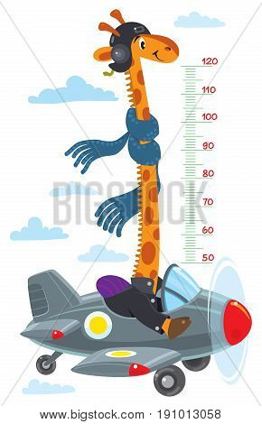 Cheerful funny giraffe on airplane. Height chart or meter wall or wall sticker. Childrens vector illustration with scale from 50 to 120 centimeter to measure growth
