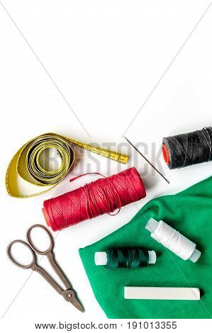 tools for sewing for hobby set on white table background top view mock up
