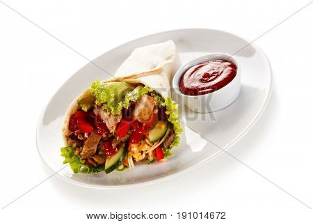 Tortilla wrap on white background