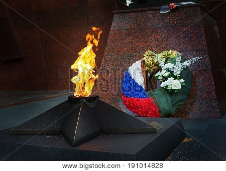 Memorial to tomb of soldiers died in WWII in Zvenigorod, Russia, Eternal Flame