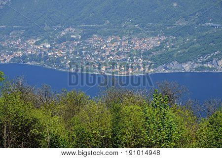 Madonna del Ghisallo at top of the famous Ghisallo pass (Como Lombardy Italy). View of the Como lake (Lario). The Madonna del Ghisallo is the protector of the cyclists