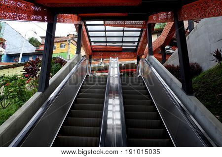 The Medelling escalators in Comuna 13, previously one of the most violent parts of the city