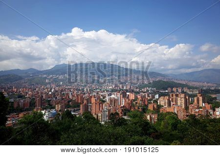 Medellin skyline Colombia with the Andes mountains in the background