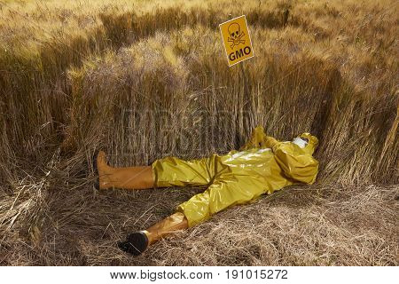 Man in protective suit dead by genetically modified cereals on field poster