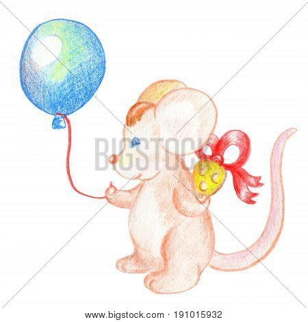 Cute mouse with balloon and gift. Lovely animal character. Birthday postcard with mouse. Hand-drawn pencil illustration for birthday. Festive character isolated. Mouse nursery art. Baby shower card