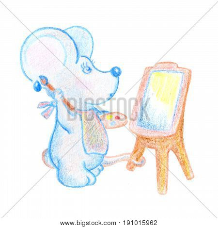 Cute mouse with easel and brush hand-drawn illustration. School lesson of arts. Surprised mouse painting on canvas. Mouse character pencil drawing. Baby shower or child birthday clipart. Art school