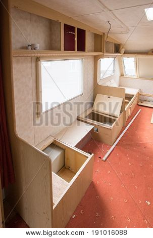 Interior Of A Caravan That Is Being Stripped And Redone