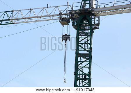 the a large construction crane close up