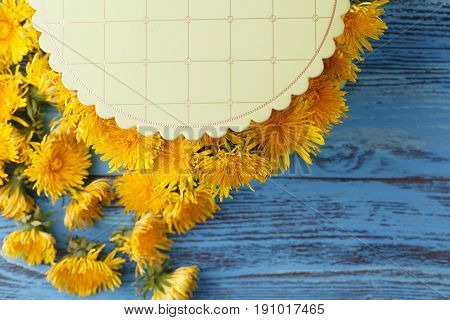 Bouquet Of Dandelions On The Sunny Blue Bench/festive Bouquet Of Dandelions