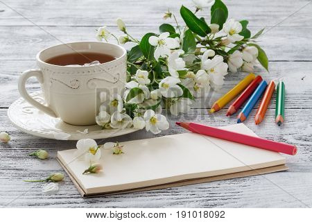 Love Card In Summer Bouquet Of Gentle Blooming Apple And Tea In China Teacup