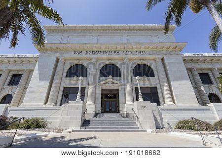 Ventura, California, USA - June 11, 2017:  Front facade of the Ventura City Hall building.
