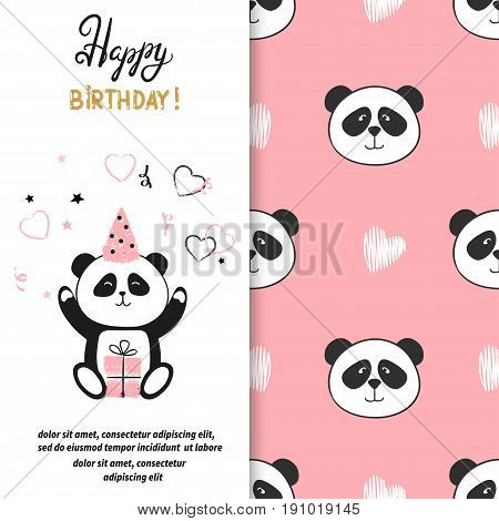 Happy Birthday greeting card design with cute panda bear. Vector illustration