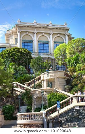 Monaco, Monte Carlo - September 17, 2016: Stairs towards the Buddha Bar, luxury bar locates on the back of the Grand Casing Monte Carlo