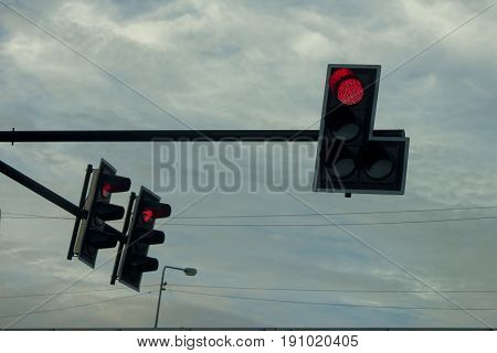 Red light in junction sign for stop car protect and security from danger and damage.