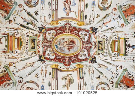 Florence, Italy - June, 5, 2017: fresco on a ceiling of Uffizi gallery in Florence, Italy