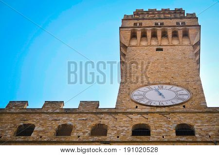 Florence, Italy - June, 5, 2017: clock on Uffizi gallery building in Florence, Italy