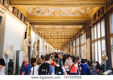 Florence, Italy - June, 5, 2017: visitors in Uffizi gallery in Florence, Italy