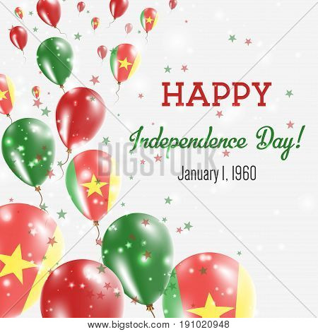 Cameroon Independence Day Greeting Card. Flying Balloons In Cameroon National Colors. Happy Independ