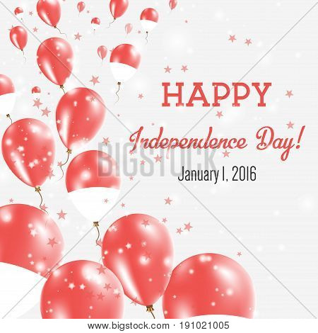 Monaco Independence Day Greeting Card. Flying Balloons In Monaco National Colors. Happy Independence