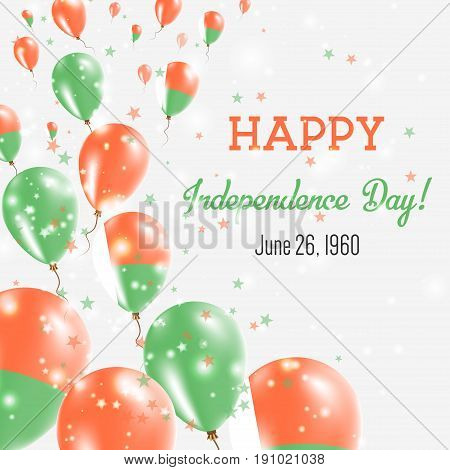 Madagascar Independence Day Greeting Card. Flying Balloons In Madagascar National Colors. Happy Inde