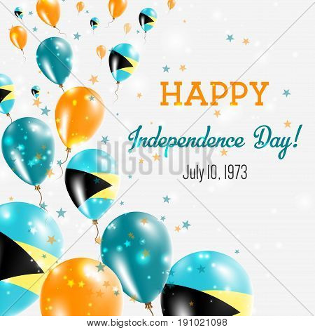 Bahamas Independence Day Greeting Card. Flying Balloons In Bahamas National Colors. Happy Independen