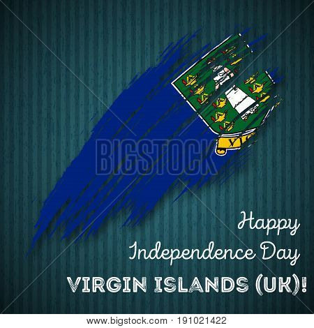 Virgin Islands (uk) Independence Day Patriotic Design. Expressive Brush Stroke In National Flag Colo