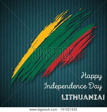 Lithuania Independence Day Patriotic Design. Expressive Brush Stroke In National Flag Colors On Dark
