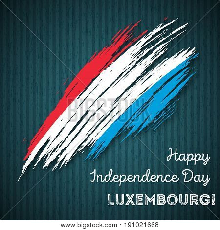 Luxembourg Independence Day Patriotic Design. Expressive Brush Stroke In National Flag Colors On Dar