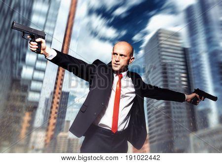 Serious contract killer shooting action wallpaper