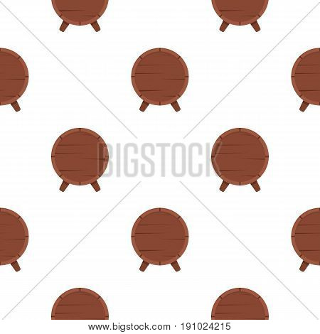 Wooden barrel on legs pattern seamless flat style for web vector illustration