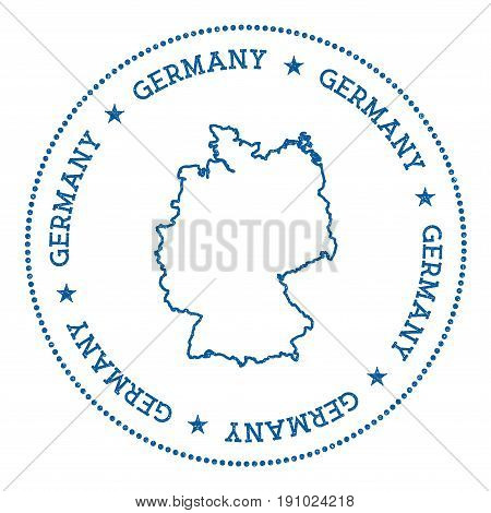 Germany Vector Map Sticker. Hipster And Retro Style Badge With Germany Map. Minimalistic Insignia Wi