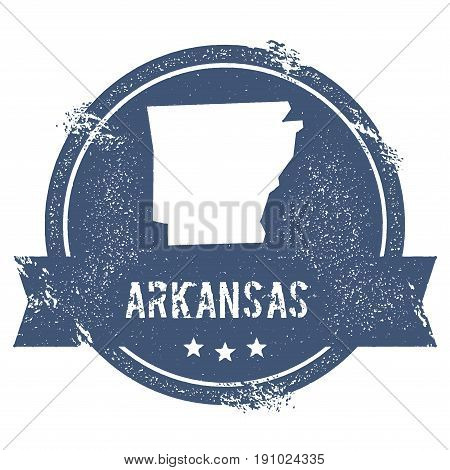 Arkansas Mark. Travel Rubber Stamp With The Name And Map Of Arkansas, Vector Illustration. Can Be Us