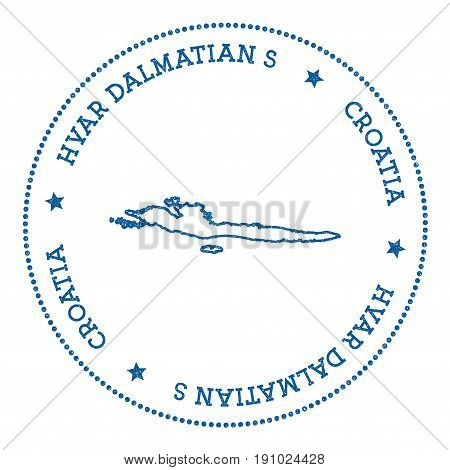 Hvar & Dalmatian Islands Map Sticker. Hipster And Retro Style Badge. Minimalistic Insignia With Roun