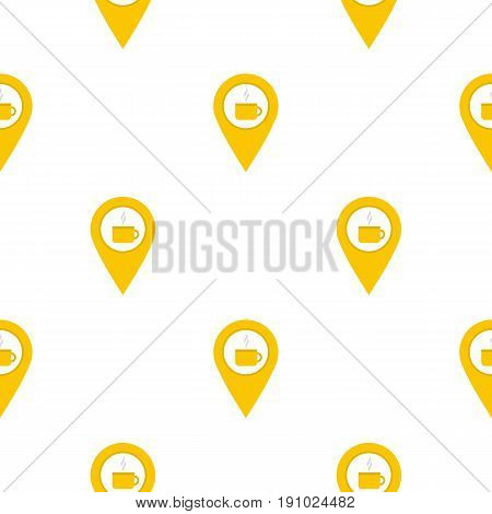 Yellow map geo tag with tea or coffee cup pattern seamless flat style for web vector illustration