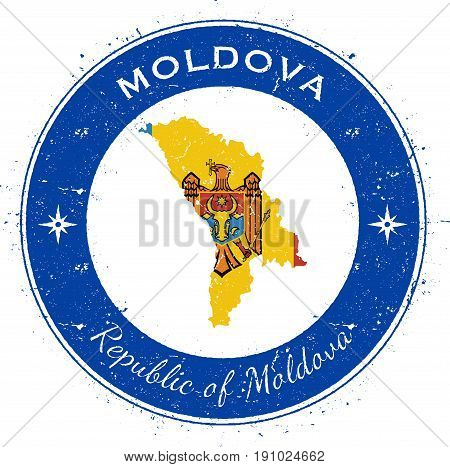 Moldova, Republic Of Circular Patriotic Badge. Grunge Rubber Stamp With National Flag, Map And The M