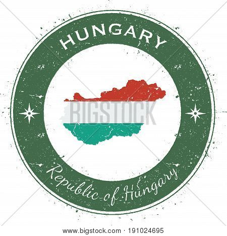 Hungary Circular Patriotic Badge. Grunge Rubber Stamp With National Flag, Map And The Hungary Writte
