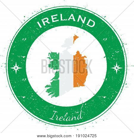 Ireland Circular Patriotic Badge. Grunge Rubber Stamp With National Flag, Map And The Ireland Writte