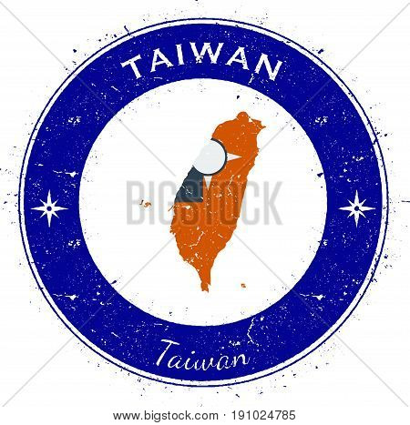 Taiwan, Republic Of China Circular Patriotic Badge. Grunge Rubber Stamp With National Flag, Map And