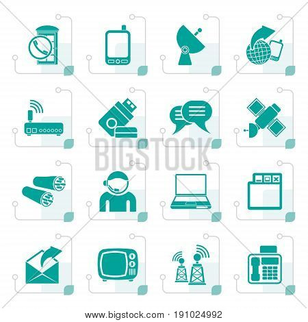 Stylized Communication, connection  and technology icons - vector icon set