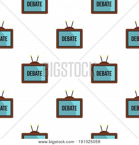 Retro TV with Debate word on the screen pattern seamless flat style for web vector illustration