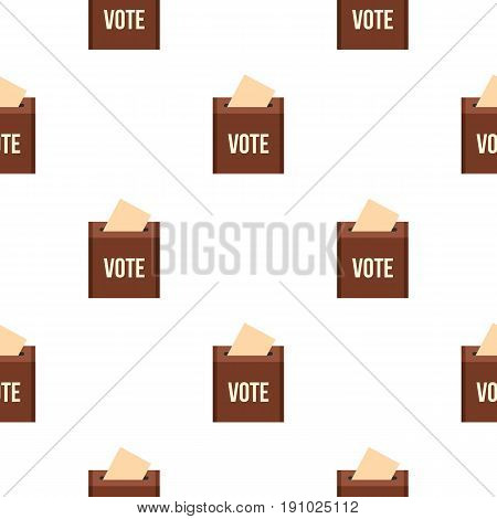 Brown ballot box for collecting votes pattern seamless flat style for web vector illustration