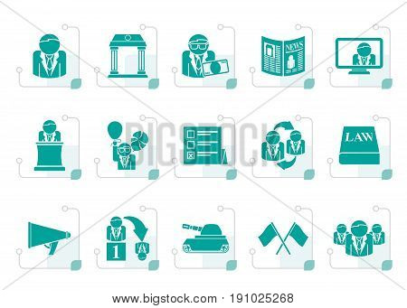 Stylized Politics, election and political party icons - vector icon set